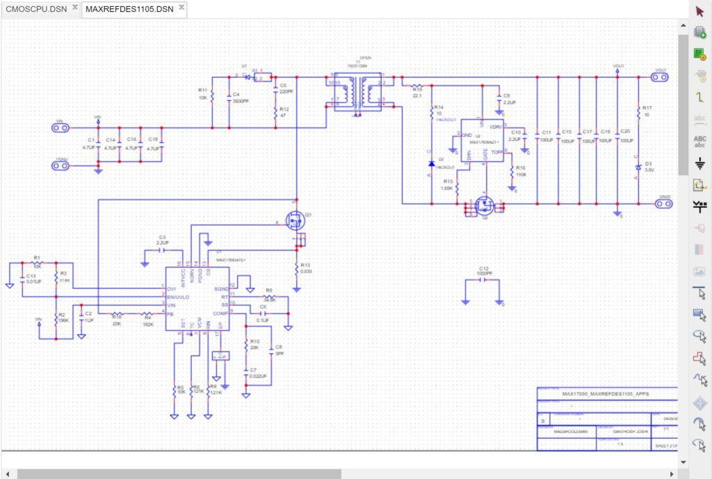 Interactive Reference Design MAXREFDES1105 from Maxim viewed in one of the many compatible CAD Tools, OrCAD 17.5