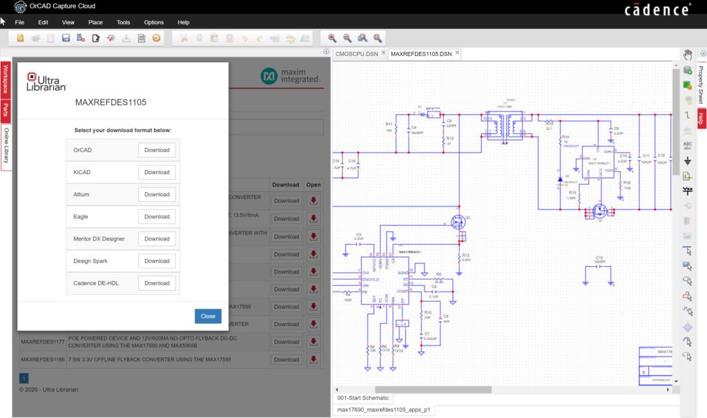 Maxim Integrated Interactive Reference Design in OrCAD Capture Cloud
