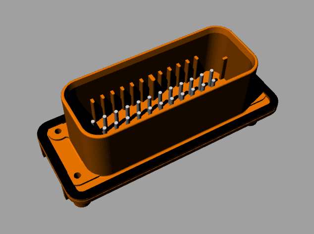 Ampseal 1-776231 wire-to-device connector STEP models for CAD libraries