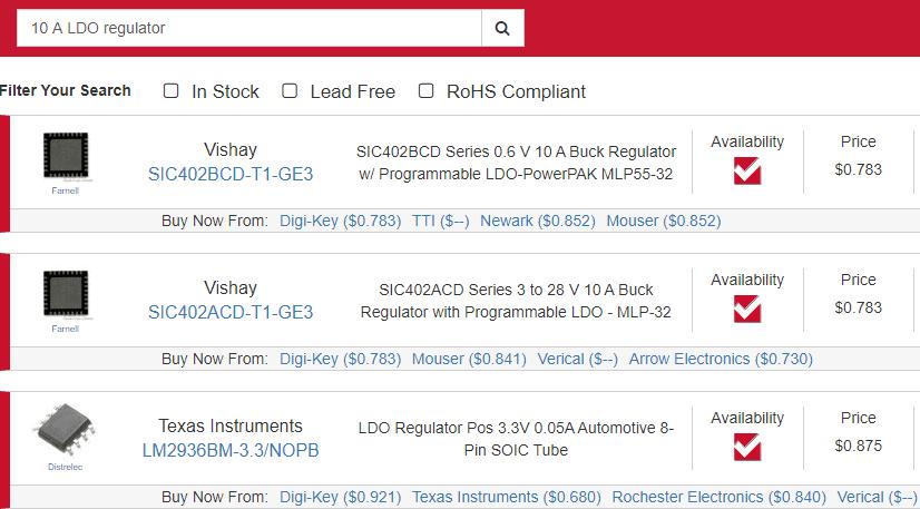 e parts finder for LDO regulator