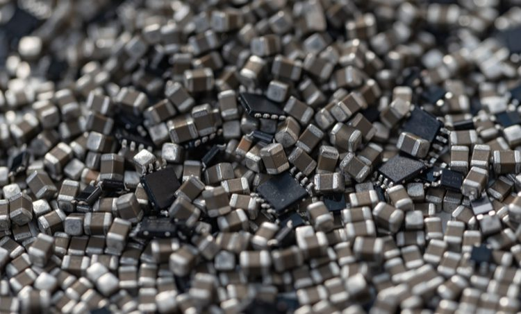 SMD components in a pile
